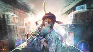 Anime Anime Girls Long Hair Arknights Amiya Arknights Brunette Bunny Ears City Blue Eyes Neon Sign B 6442x3624 Wallpaper