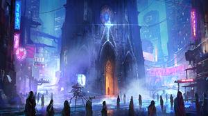 Building Cathedral City Crowd Cyberpunk Cityscape Futuristic Light Night Robot 2114x1080 Wallpaper