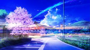 Sakura Blossom Shooting Star Fantasy 1920x1080 Wallpaper