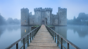 Bodiam Castle Castle Fog Reflection 2048x1365 wallpaper
