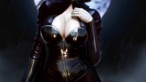 Kirill Repin Drawing Underworld Women Selene Underworld Blue Eyes Black Clothing Leather Zipper Look 1536x1920 Wallpaper