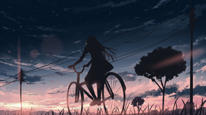 Anime Girls Bicycle Sunset Sky Power Lines Trees Clouds Arttssam 1920x1080 Wallpaper