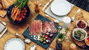 Meat Food Vegetables Spoon Fork Tomatoes Carrot Knife And Fork 4000x2670 Wallpaper