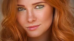 Kerry Moore Women Redhead Freckles Wavy Hair Looking At Viewer Green Eyes Portrait 1600x901 Wallpaper