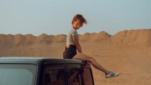 Women Hair In Face Model T Shirt Sneakers Adidas Car Women With Cars Dunes Sky Outdoors Women Outdoo 2560x1440 wallpaper