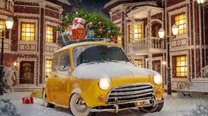 Christmas Tree Car Yellow Car Winter Gift 1920x1320 Wallpaper