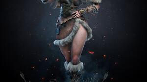 Manu Herrador Digital Art ArtStation Women Fantasy Art Fantasy Girl Helmet Weapon Standing Long Hair 1678x2000 Wallpaper