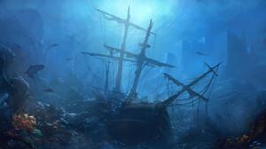 Shark Ship Underwater Wreck 1920x1080 wallpaper