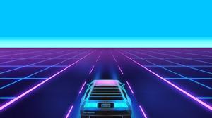 Cyan Cyan Background Pixels Pixelated DeLorean Minimalism Digital Retrowave 1920x1200 wallpaper