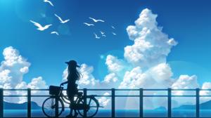 Bike Cloud Girl Sky Summer 2000x1414 Wallpaper