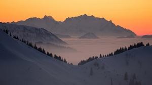 Snow Mountain Sunrise Dawn Germany Bavaria 2048x1152 Wallpaper