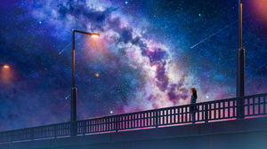 Anime Anime Girls Original Characters Landscape Sky Night Stars Shooting Stars Lantern Bridge Starry 1920x1080 Wallpaper