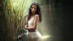 Water Girl Reed Woman Model Black Hair 2048x1367 Wallpaper