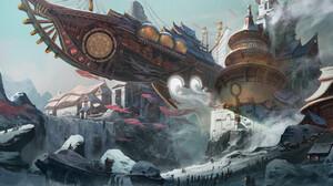 Artwork Fantasy Art Airships Fantasy City Landscape 1920x847 Wallpaper