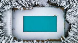 Swimming Pool Snow Water Blue Winter Trees Garden 8000x6000 Wallpaper
