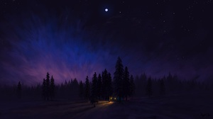 Digital Painting Artwork Night Forest Car Sky BisBiswas 1920x1080 Wallpaper