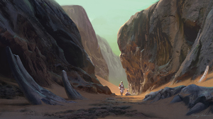 Artwork Digital Art Cliff Astronaut Bones Rocks Desert Landscape 1920x1056 Wallpaper