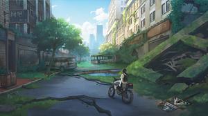 Girl Motorcycle Post Apocalyptic 3034x1367 Wallpaper