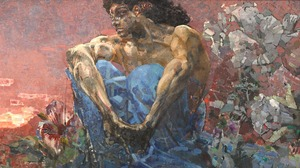 Mikhail Vrubel Painting Artwork Oil Painting Sunset Flowers Mountains Demon Symbolism Fantasy Art Su 2048x1087 wallpaper