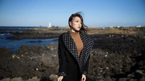 Model Women Asian Women Outdoors Hair In Face Windy Turtlenecks Overcoats Looking Away 5400x3466 Wallpaper