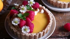 Flower Raspberry Tartlet Pastry 2200x1487 Wallpaper