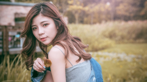 Asian Model Women Long Hair Brunette Jeans Jeans Jacket Grey Tops Trees Grass 5853x3907 Wallpaper