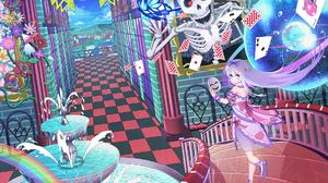 Card Dress Fantasy Girl Mask Rainbow Ribbon Skeleton Skull White Hair 1875x1326 Wallpaper