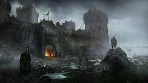 Castle Rain Warrior 1920x1080 wallpaper