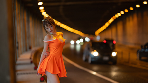 Women Model Brunette Asian Closed Eyes Necklace Bare Shoulders Dress Orange Dress Car Tunnel Depth O 2560x1600 Wallpaper