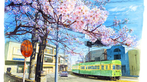 Artwork Digital Art Cityscape Nature Train Trees Cherry Blossom 1920x1300 Wallpaper