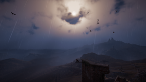 Assassins Creed Assassins Creed Valhalla Landscape Clouds Sun Structure Blue Trees Flag Green Yellow 3440x1440 Wallpaper