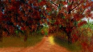 Digital Painting Nature Landscape Fall 1920x1080 Wallpaper