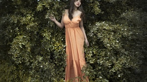 Asian Women Standing Outdoors Women Outdoors Plants Dark Hair Dress Orange Dress Looking Away 2400x1600 Wallpaper