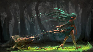 Artwork Fantasy Art Fantasy Girl Long Hair Green Hair Nature Trees Forest Walking Pointy Ears 1920x1153 Wallpaper