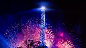 Landscape Paris Eiffel Tower Fireworks Party Room 5816x3918 Wallpaper