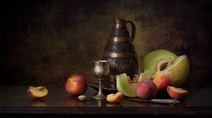 Fruit Honeydew Melon Knife Melon Peach Pitcher Still Life 2048x1282 Wallpaper