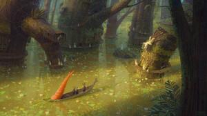 Artwork Fantasy Art Animals Rabbits Carrots Carrot Swamp Trees Forest Boat 1920x1094 Wallpaper