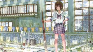 Broom Girl School Uniform Schoolgirl Short Hair 1920x1358 Wallpaper