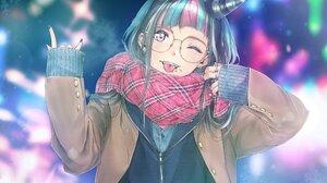Anime Anime Girls Demon Horns Glasses Piercing Red Eyes Black Hair Long Hair Scarf Tongue Out Rings  2048x1536 Wallpaper