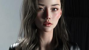 Chen Wang CGi Women Asian Brunette Portrait Leather Jackets 1920x1979 wallpaper