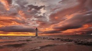 Lighthouse Sea Shore Sunset 5055x3018 wallpaper
