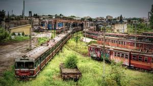Apocalyptic Train Station Train HDR Poland Abandoned Cz Stochowa 1920x1200 Wallpaper