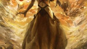 Fantasy Art Fantasy Girl Fire Standing Artwork Hips 1920x2631 Wallpaper