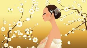 Artwork Women Twigs Plants Flowers Face Profile 1920x1200 Wallpaper