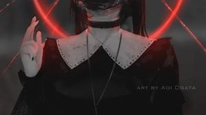 Anime Anime Girls Aoi Ogata Simple Background Original Characters Gas Masks Choker Vertical 1040x1500 Wallpaper