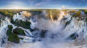 Argentina Iguazu Falls Nature Rainbow Vegetation Water Waterfall 2048x1184 Wallpaper
