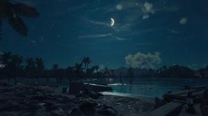 Far Cry 6 Video Games Night Moon Palm Trees 1920x1080 Wallpaper