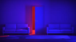 Neon Neon Lights CGi Digital Art Render Red Blue Door Couch Carpet 2560x1440 Wallpaper