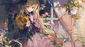 Anime Anime Girls Flowers Matcha Witch Hat Broom Long Hair Dress 3328x2400 Wallpaper