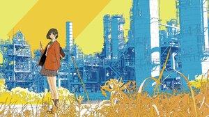 Anime Anime Girls Factory Short Hair Brunette Backpacks Grass Smartphone Skirt Looking Away Dark Eye 2000x1363 Wallpaper
